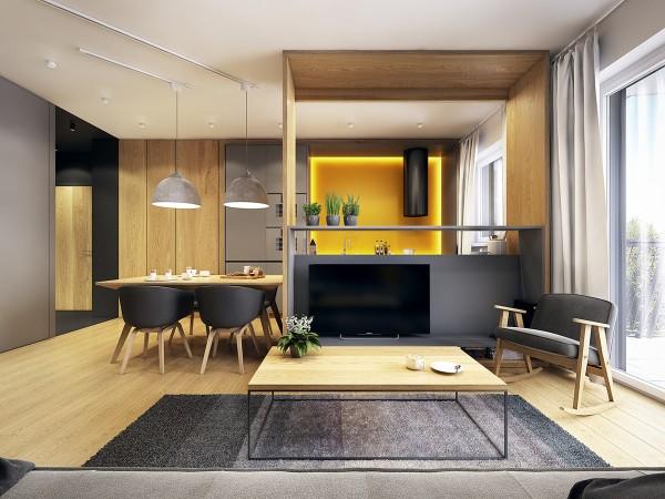 серо-жёлтый интерьер гостиной объединённый с кухней