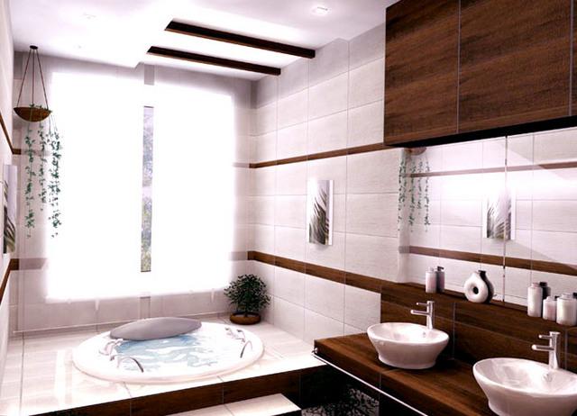 шикарная ванная в японском стиле