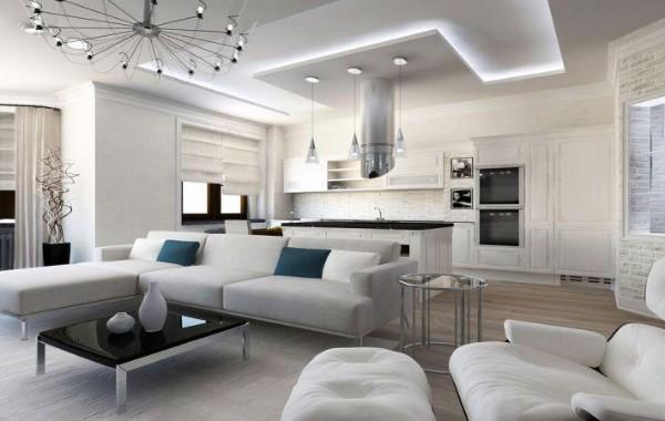 современный дизайн интерьера гостиной объединённой с кухней