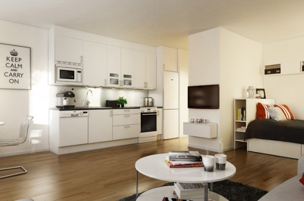 современный интерьер гостиной объединённой с кухней