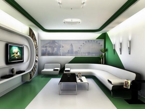 современный дизайн интерьера 2018 в зелёном цвете