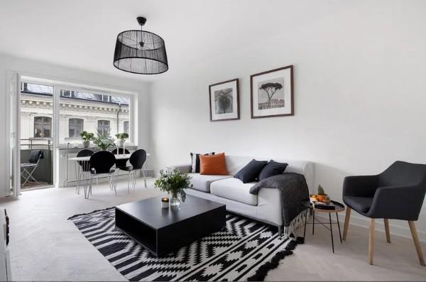 современный дизайн интерьера гостиной в чёрно-белом цветовом решении