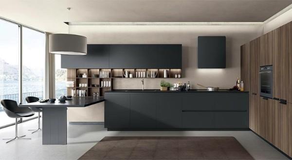 современный дизайн интерьера кухни 2018 чёрно-серый цвет