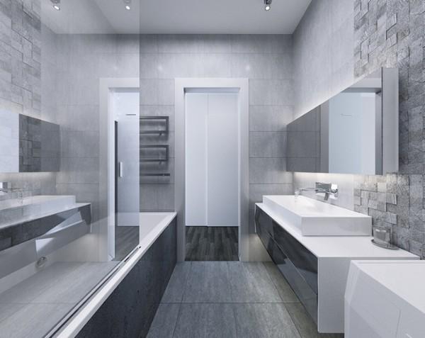 современный дизайн интерьера ванной в сером цвете минимализм