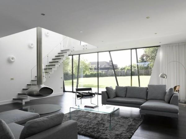 современный дизайн интерьера в сером цвете модерн