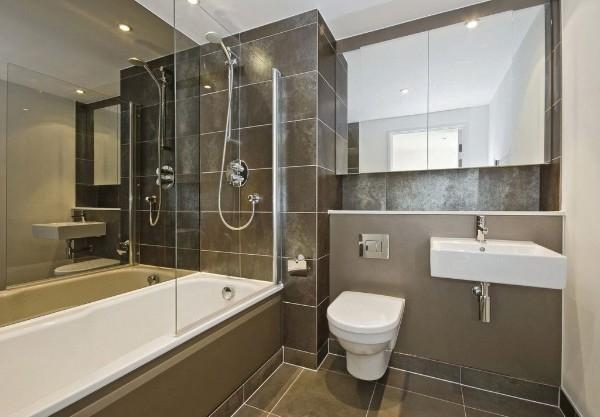 современный дизайн интерьера ванной бронзовый цвет