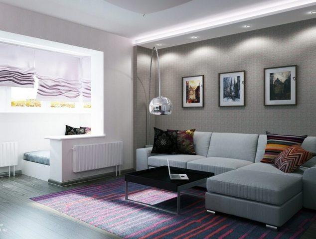 современный интерьер гостиной с балконом