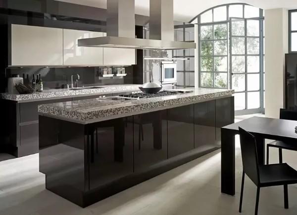 современный стильный дизайн кухни в цвете горького шоколада