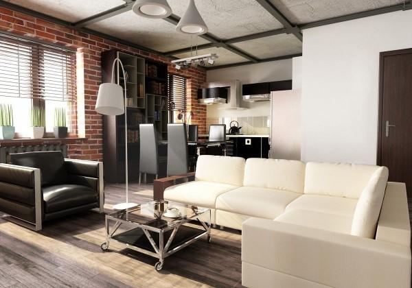 стильный дизайн с кирпичной стеной в интерьере гостиной объединённой с кухней