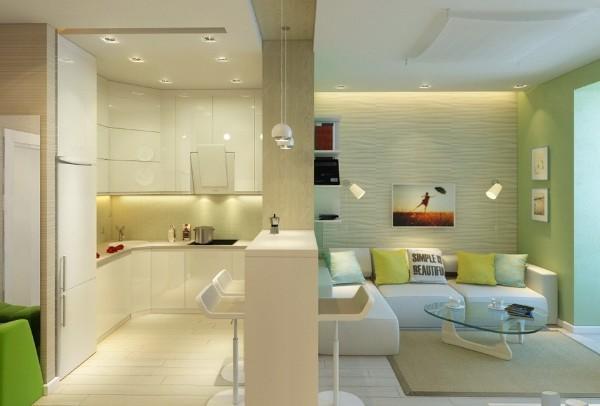 светлый интерьер гостиной объединённой с кухней