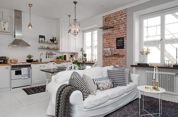 светлый интерьер кухни объединённой с гостиной