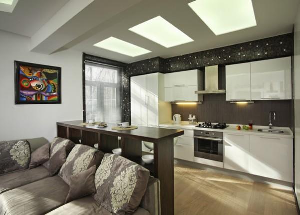 светопрозрачный потолок в интерьере кухни объединённой с гостиной