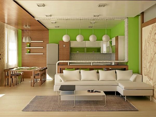 свежий дизайн гостиной объединённой с кухней в салотовом цвете