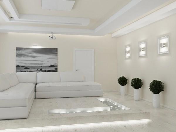 белая гостиная где мало света