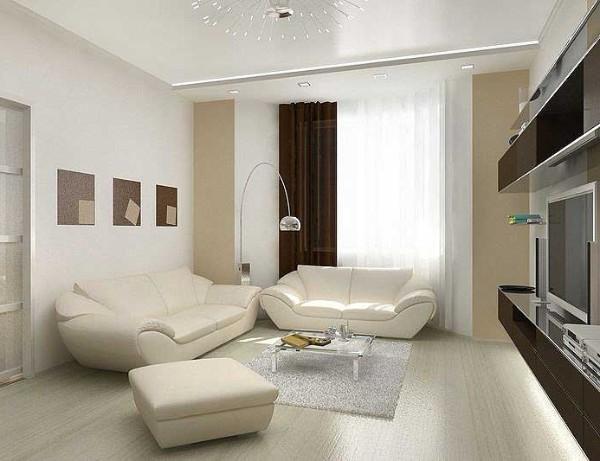белый интерьер гостиной с яркими пятнами где мало света