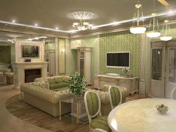 бежево зелёная классическая гостиная где мало солнечного света