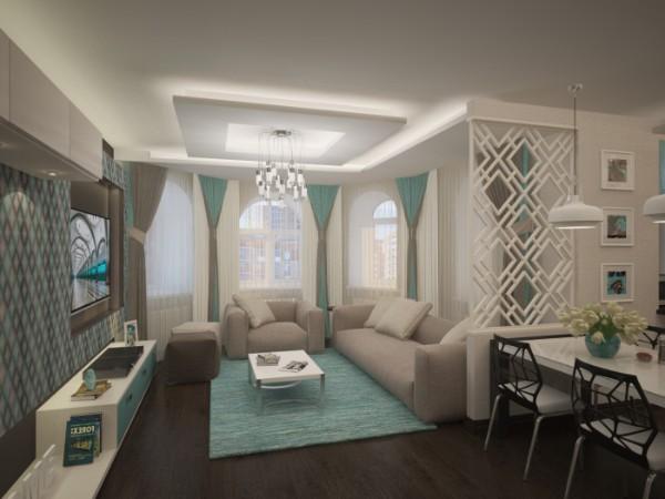 бирюзовый цвет в дизайне классической гостиной где мало солнечного света
