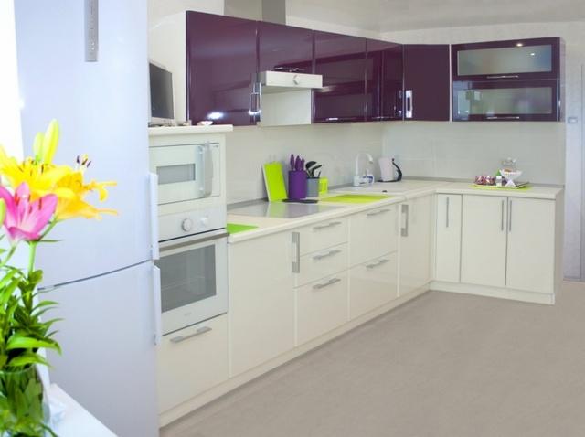 дизайн маленькой кухни в бело фиолетовой гамме