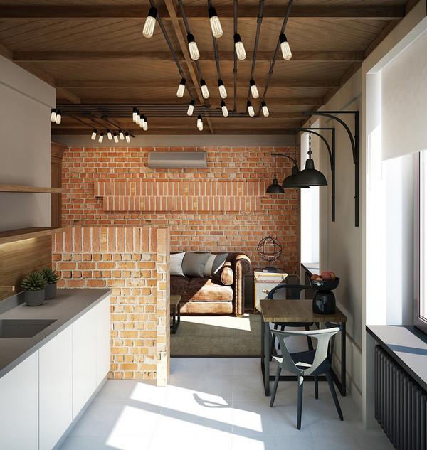 дизайн проект однокомнатной квартиры лофт