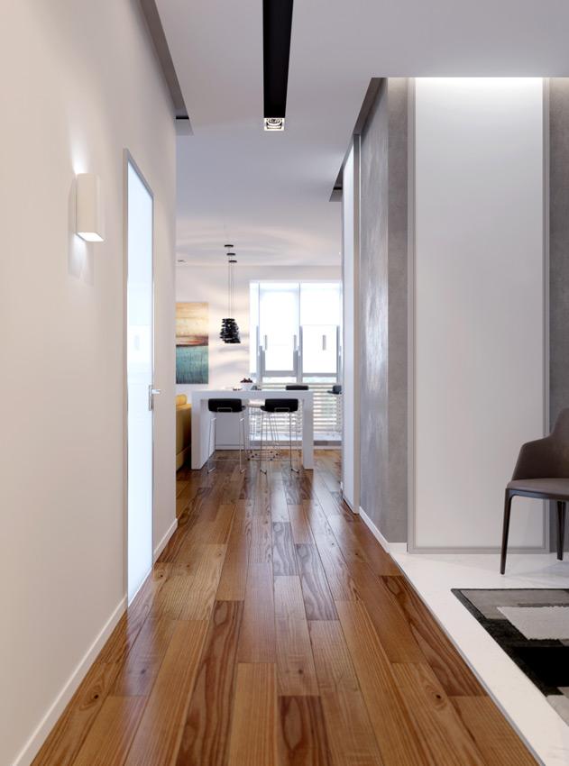 дизайн современного длинного коридора