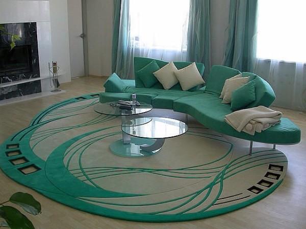 дизайнерский ковер бирюзового цвета ковёр на полу в стильной гостиной