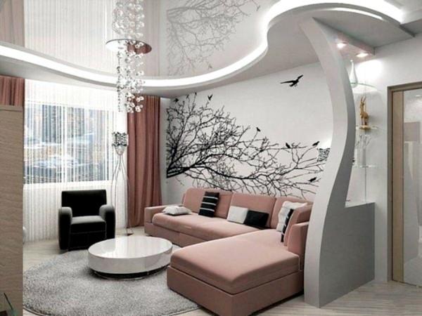 Эффектный дизайн современной гостиной где мало света