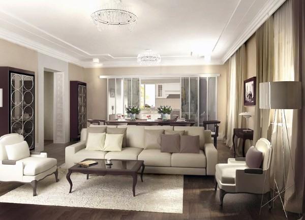 гостиная где мало света в стиле модерн