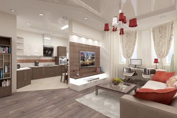 интересный дизайн гостиной студии с яркой люстрой где мало света