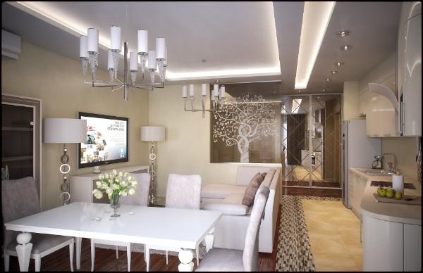 интересный дизайн в квартире студии с гостиной с парящим потолком где мало света