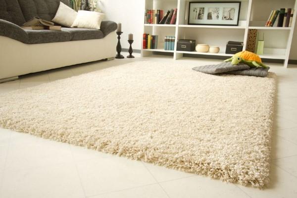 интерьер гостной с ковром с высоким ворсом на полу