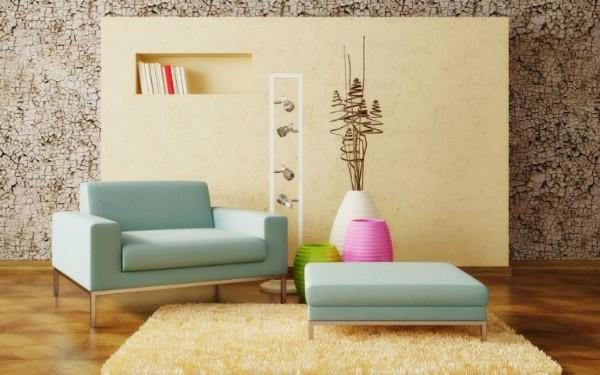 ковёр жёлтого цвета на полу в гостиной