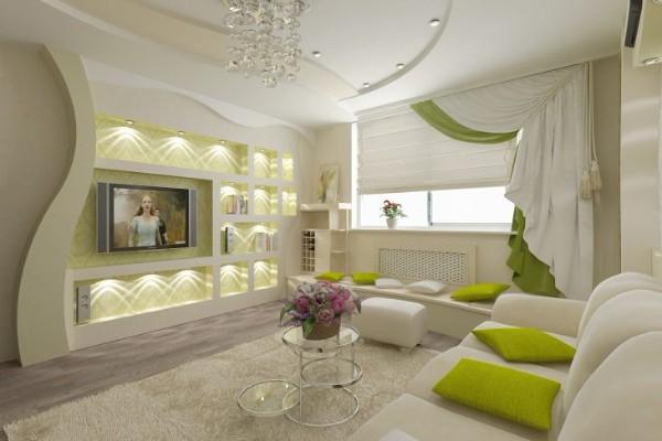 красивый интерьер гостиной где мало света