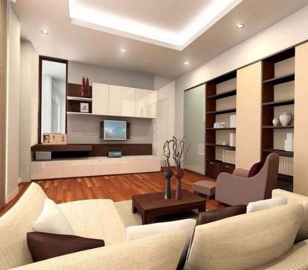 кремовая гостиная с коричневой мебелью где мало солнечного света