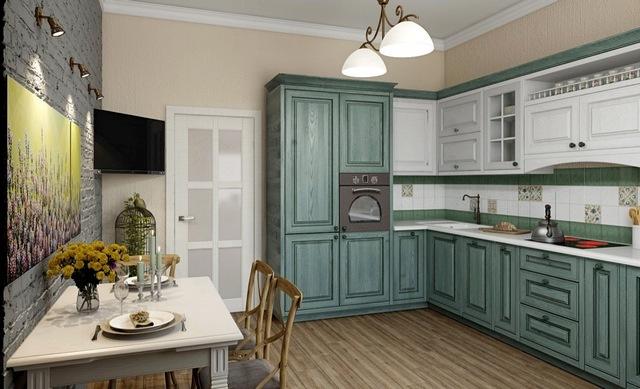 кухня оливкового цвета в стиле прованс