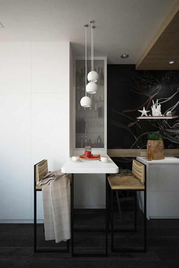 кухня студия в современной квартире