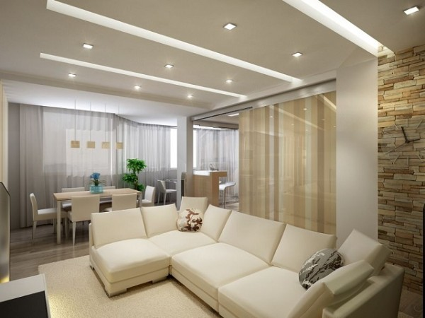 модная гостиная где мало света в современном стиле