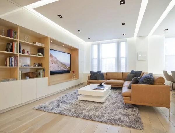 модный дизайн гостиной где мало света