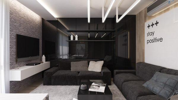 модный интерьерр гостиной с чёрной акцентной стеной где мало света