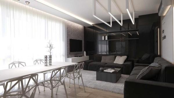 модный интерьер гостиной студии где мало света