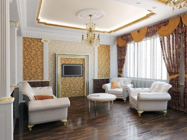 нарядный дизайн гостиной