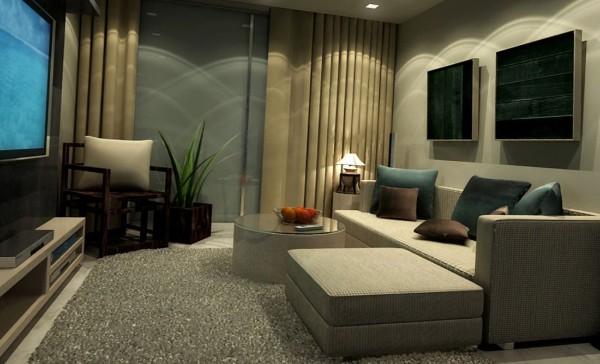 небольшая гостиная где мало света в современном стиле