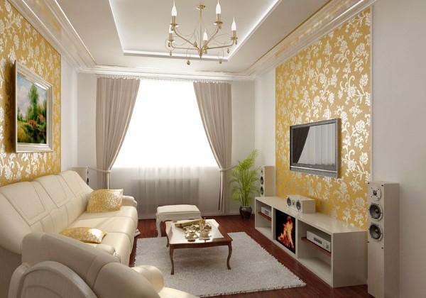 интересный дизайн гостиной где мало света с золотыми обоями