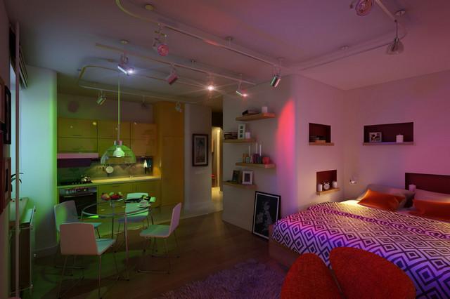 однокомнатная квартира с ночным освещением