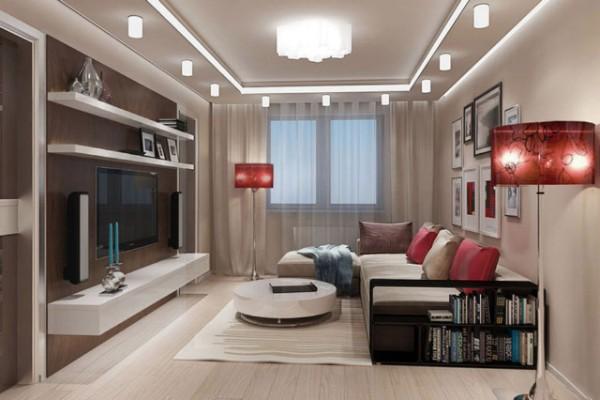 оригинальный дизайн гостиной где мало света