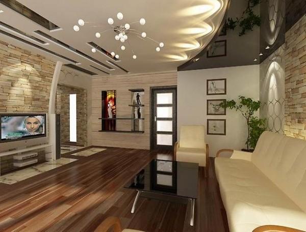 оригинальный дизайн потолка в гостиной где мало солнечного света
