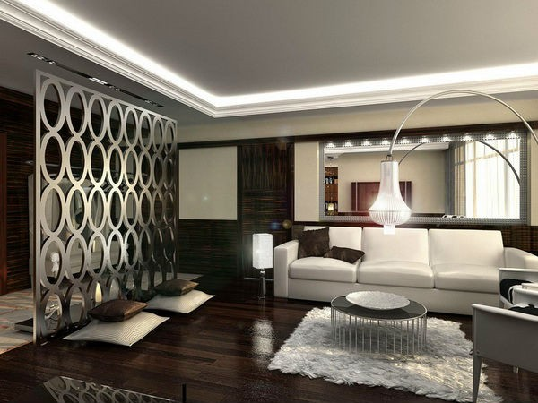 оригинальный дизайн с ажурной перегородкой в гостиной если мало солнечного света