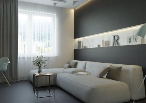 оттенки серого в дизайне современной гостиной где мало соленачного света