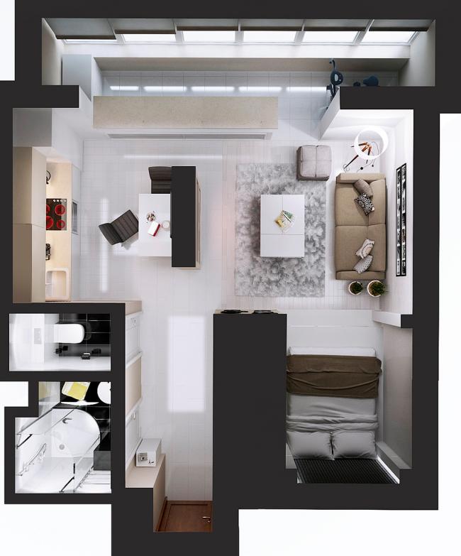 планировка однокомнатных квартир дизайн проект