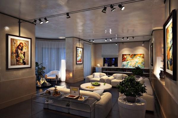 подвесные светильники с направленным светом в гостиной где мало солнечного света