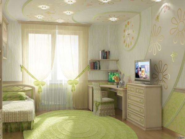 салатовый коёр круглой формы на полу в дизайне детской